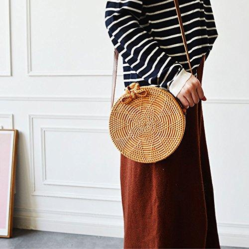 Bohemian-Stil rund Rattan Woven Staubbeutel für Frauen Handgefertigt Strick Sommer Strand Schulter Umhängetasche (Woven Shopper)