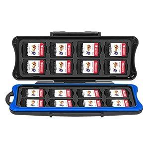 Nintendo Switch Spiel Tasche, Keten Game Cards Box, Wasserdichte Anti-Schock Hülle, Box für SD Speicherkarten, 32 Slots für 16 Stück Switch Game Cards und 16 Micro-SD Karten