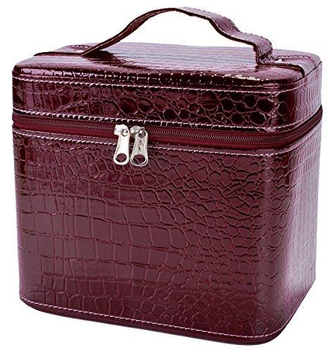 Wasserdicht Kulturtaschen, Coofit Make Up Taschen Kosmetik Fällen Beauty Box Krokodil Muster Leder Make-Up Fall für Frauen groß, dunkelrot (Rot) - ZE173544FR36Z72 - Vanity Box