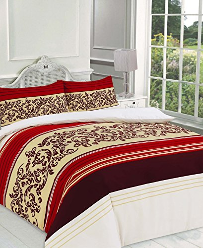 (Camilla Red, Duvet Set King) - Camilla Print Duvet Cover Set King Bed With Pillowcases Quilt Bedding Set Polyester , Red