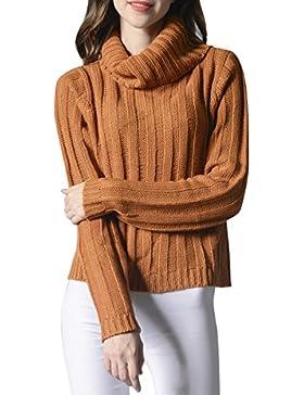 ELLAZHU Moda mujer Turndown Clooar mangas largas suéter superior YY55 amarillo S