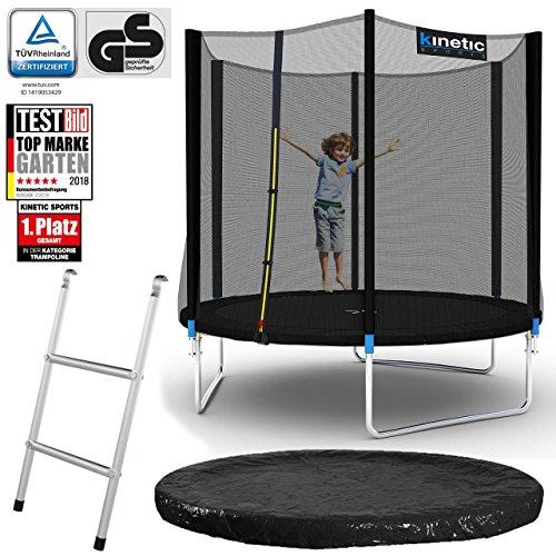 Kinetic Sports Outdoor Gartentrampolin Komplett-Set inkl. Sicherheitsnetz Randabdeckung Leiter Abdeckplane für Kinder und Erwachsene Ø 244 cm SCHWARZ