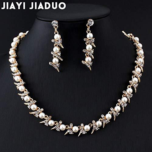 MUATE Nachahmung Perlenkette Ohrringe Set Gold Farbe Hochzeit Haarschmuck Handel Tropfenverschiffen Frauen Kostüm - Gold Kostüm Cocktail Ringe