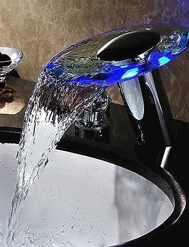 Hjkdgh robinet deux poignées LED cascade hydroélectrique de verre de salle de bain Lavabo Robinet Finition chromée