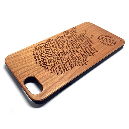 Custodia iPhone 6/6S, Natura Legno Custodia Wood back Cover Hard PC Bumper Protettiva Case Per Apple iPhone 6/6S(4.7 Pollici)Smartphone - Wooden Cover(Middle finger) Cherry Jesus