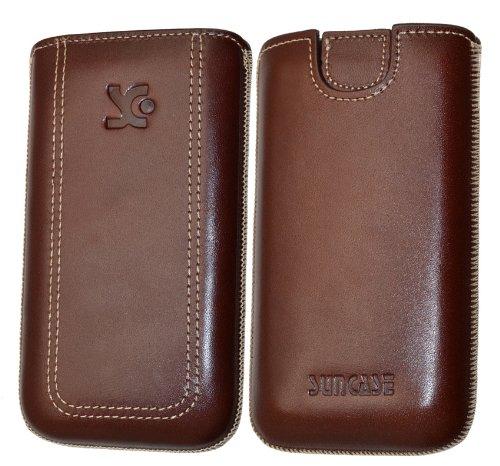 Original Suncase Tasche für / Emporia PURE / Leder Etui Handytasche Ledertasche Schutzhülle Case Hülle - Lasche mit Rückzugfunktion* in braun
