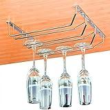 Soporte para Copas de Vino - Soporte de Acero para Colgar Copas en la Cocina, Bar o Restaurante - Estante para diámetro de base de hasta 8.5cm Copas de Vino - Medidas 34,5 x 32,5 x 6cm (LxWxH)