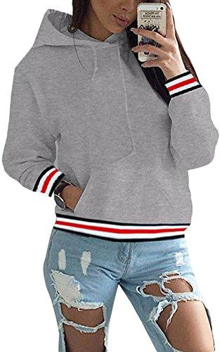 Hoodie Damen Oversize Rot Pullover Herbst Winter Kapuzenpullover Frauen Sweatshirt Jacke Grau Small Frauen Hoodie