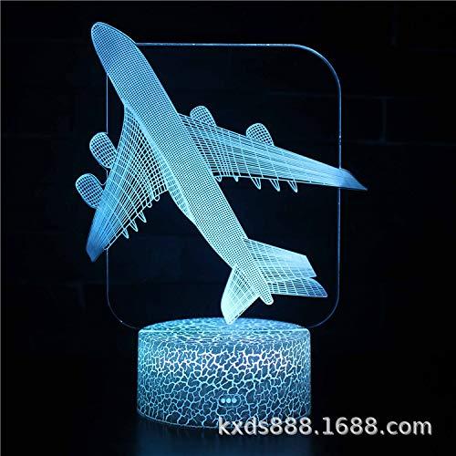 Airliner Fighter Serie 3d Nachtlampe Led Bunte Touch-tisch-lampe Usb Creative Gift Lampe Weiße Basis: Bunte Berührung KX-267 -