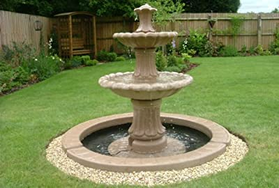 stone garden water fountain. 4ft 3inch 2 tier fountain and 4ft 10inch single pool surround self contained garden water feature