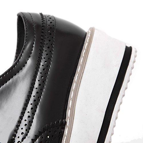 VogueZone009 Femme à Talon Bas Couleur Unie Lacet Verni Carré Chaussures Légeres Noir