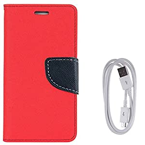 Avzax Diary Look Flip Case Cover For HTC Desire 628 (Red) + Data Transfer & Charging Cable