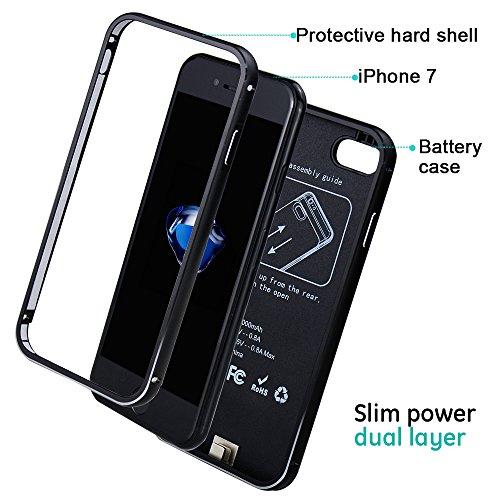 Housse de iPhone 7Batterie ibeek 3000mAh externe ultra fine portable Power Bank sauvegarde Charging rechargeable battery Case amovible énergies Chargeur pour iPhone 7(4.7inch) Schwarz