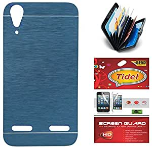 Tidel Durable Aluminium Brushed Metallic Back Cover For Lenovo A6000 (Blue) With Credit Card & Cash Holder and Tidel Screen Guard
