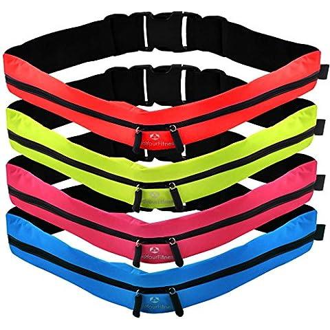 Cinturón de running »FunRunner« elegante riñonera / Riñonera / Cinturón para running, senderismo, escalada, equitación - 4 colores / Móviles de hasta aprox. 5,5 pulgadas / ¡elástico, impermeable y ajustado! Verde