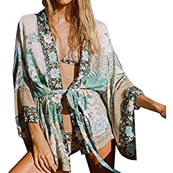 Kimono Estampada Flores Mujer, Sannysis Cárdigan Boho Chal de Gasa Largo Cubren Kimono de Playa de Gasa Floral Bohemia de Mujer Blusa de Cardigans Batas y Kimonos Pijamas para Mujer (XL)