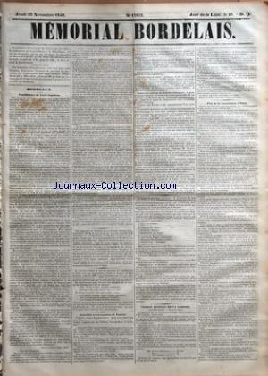 MEMORIAL BORDELAIS [No 13852] du 23/11/1848 - CANDIDATURE DE LOUIS-NAPOLEON - NOUVELLES EXTRAVAGANCES DE FOURIER - CONSEIL GENERAL DE LA GIRONDE - M. COUREAU - DUFFOUR-DUBERGIER - CURE - FERBOS - FETES DE LA CONSTITUTION A PARIS