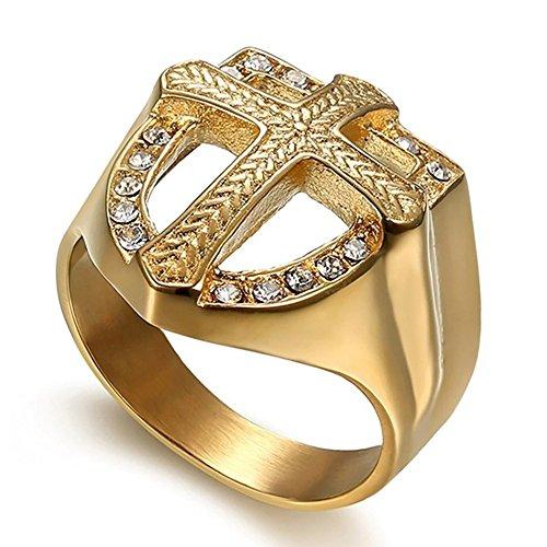 BOBIJOO Jewelry Bague Chevali/ère Homme M/édaille Croix Ordre Saint Beno/ît de Nursie Acier Dor/é Or