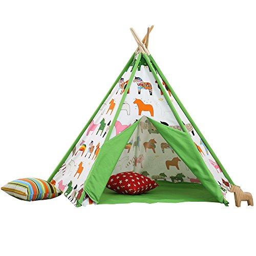 Pericross™ Indianerzelt Kinder Schaukelpferd Tipi mit Fenster und Decke 100% Baumwolle Grün