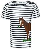 zoolaboo T-Shirt Mädchen Pferd mit Klee, Gestreift in Weiß/Dunkelblau, Größe...