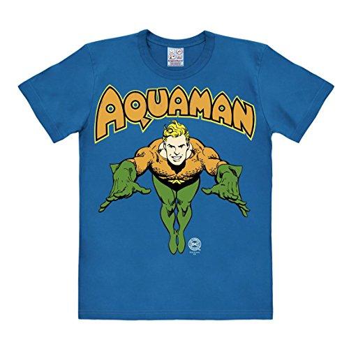 LOGOSHIRT - T-Shirt Herren Aquaman - DC Comics - blau - Lizenziertes Originaldesign, Größe (Shirt Kostüm Aquaman)
