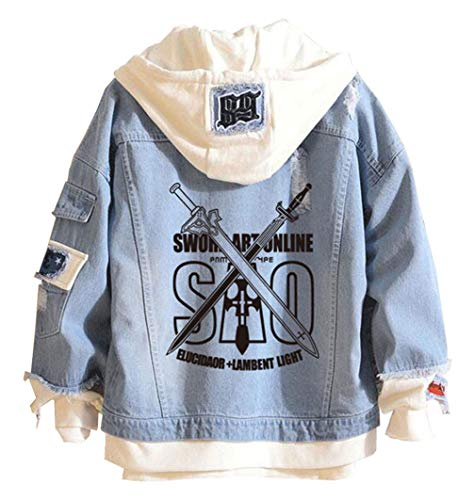 Cosstars Anime Sword Art Online Sao Denim Jacket Chaqueta Vaquera Adulto Cosplay Jeans Hoodie Outwear Abrigo Azul 1 M