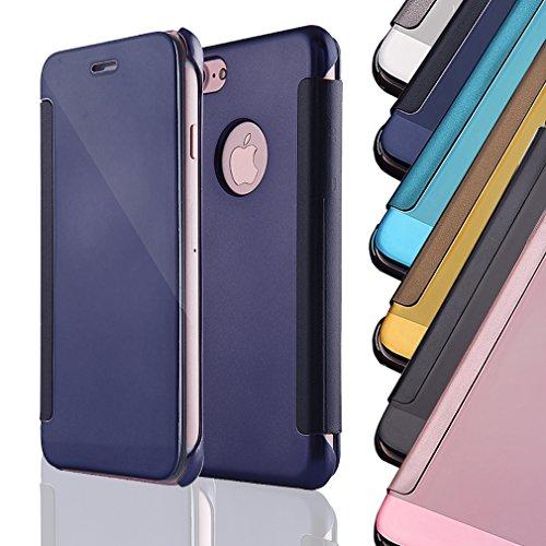 Aursen® Spiegel Handy case Cover Tasche Schutzhülle für iphone 7 Plus Dunkelblau Blau