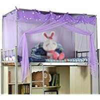 Moskitonetz Student Store Einzelbett Polyester Atmungsaktiv lila Moskito-Kontrolle Zipper Staub Geeignet für 3,3 Fuß und 4 Fuß Betten