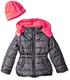 Pink Platinum Baby Girls Star Printed Puffer with Hat