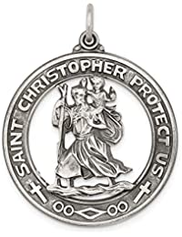 925 Sterling Silver Saint Christopher Medal Pendant Charm Necklace Religious Patron St Fine Jewelry For Women Gift Set