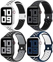 أربطة YAXIN 4 حزمة متوافقة مع سوار ساعة Apple 44 مم 42 مم 40 مم 38 مم للنساء والرجال والنساء، حزام بديل رياضي