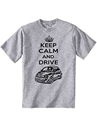TEESANDENGINES FIAT Abarth 2015 Keep Calm and Drive P Camiseta Gris para Hombre de Algodon