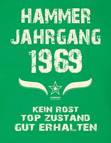 Geschenk Set : Geschenkidee 48. Geburtstag ::: Hammer Jahrgang 1969 ::: Herren T-Shirt & Urkunde Geburtstagskind des Jahres für Ihren Papa Vater ::: Farbe: schwarz Hellgrün