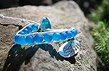 PowerofLove Design*Beadwork- sandgestrahlt- Glasperlen-Wickelarmband-Geschenkidee-Baumwolle-natürlich-blau-Handgemacht-Unisex