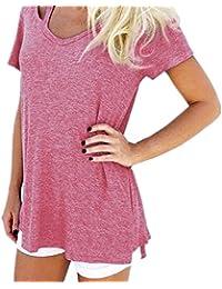 T shirt Femme Manches Courte Col V Ete Tops Rétro Bretelles Décoratif Causal Coton Blouse Mode