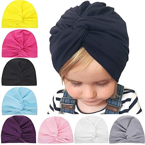Baby Grow 2019 Designed Cute Baby Hat Cotton Soft Turban Knot Girl Summer Hat Bohemian Style Kids Newborn Cap for Baby Girls (White)
