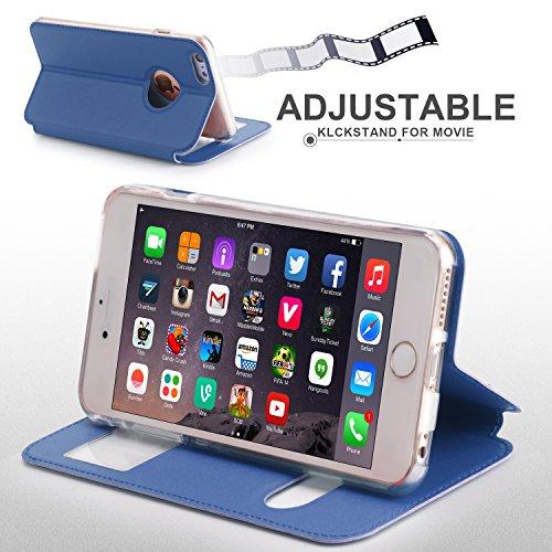 iPhone 6S Hülle,iPhone 6 Hülle,iPhone 6,Fyy® hochwertige umweltfreundliche KunstlederHülle (Tasche Schale Schutzhülle Case Cover Etui) Rosa Gold für Apple iPhone 6S/6 (4.7 Zoll) A-Schwarzblau