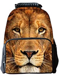 Aubig Boys Girls 3D Animals Print Daypack Backpack School Bag Multicolor - Yellow Lion
