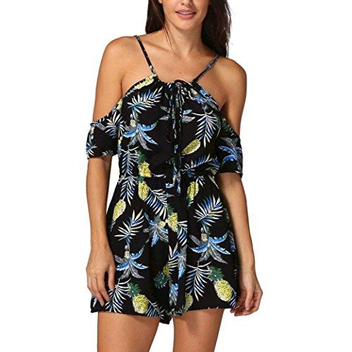 Btruely Jumpsuit Damen Kurz Sommer Elegant Blumen Floral Overall Trägerlos Klied Playsuit Chiffon Overall Romper Kurz Strandkleid ...