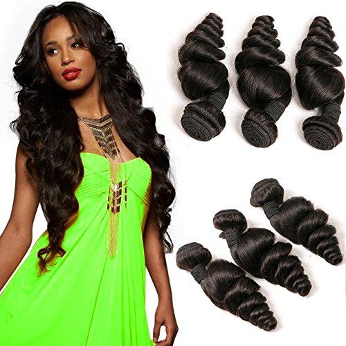 DAIMER Brazilian Human Hair Weave 3 Bundle Loose Wave Echt Haare Verlängerung Weft Remy Extensions Echthaar zum Einnähen Schweißen Dickes Haar 300g 8a 22 24 26 Inches