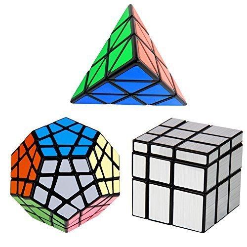 YKL WORLD YKL World Black Magic Dodecahedron Megaminx+3x3x3 Pyraminx+3x3x3 Silver Mirror Puzzle Cube