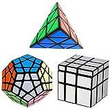 YKL World Black Magic Dodecahedron Megaminx + 3x3x3 Pyraminx + Silver 3x3 Mirror Puzzle Cube