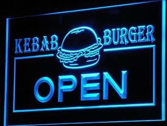 Enseigne Lumineuse i167-b OPEN Kebab Burger Cafe Fast Food Neon Light Sign