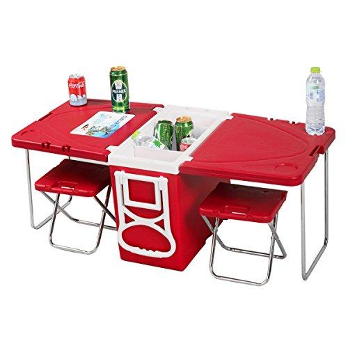 28L Klappbar Kühlbox Picknick Kühltasche Kühltische Kühlschrank Camping Outdoor Eisbox Picknick mit Rollen Set Thermokühltasche (Rot)