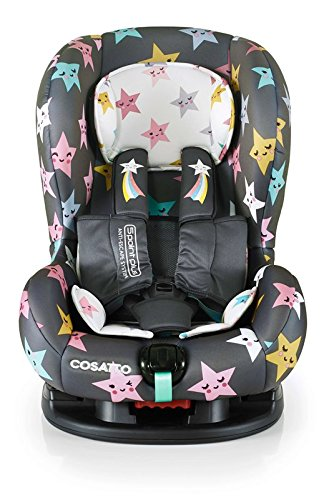 Cosatto Moova 2 Car Seat Group 1, 9-18 kg, Happy Hush Stars Cosatto Moova 2 is suitable from 9 kg-18 kg (9 months - 4 years approximatelyimately); it fits forward-facing with a standard 3-point vehicle seat belt It features the exclusive Five Point Plus Anti-Escape system, great for keeping little wrigglers in place, plus side impact protection for in-car security; the reclining padded seat gives on-board comfort It is easy to clean with removable squidgy padded liner and pop off seat covers-Moova 2 is their padded protector 4