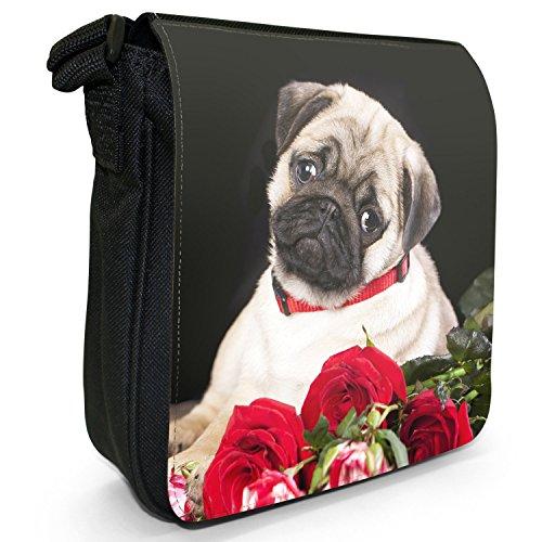 China asiatisch Liebe Mops Hunde Kleine Schultertasche aus schwarzem Canvas Mops mit Strauß roter Rosen