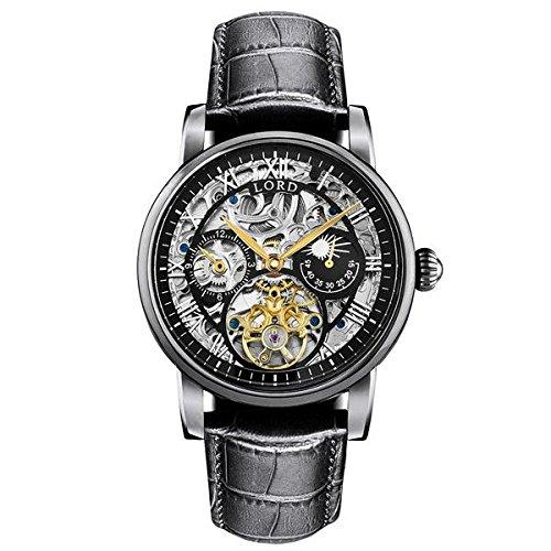 Lord Timepieces Luxus Herren Legacy Black Watch - italienische Lederband - 43mm Automatikuhr