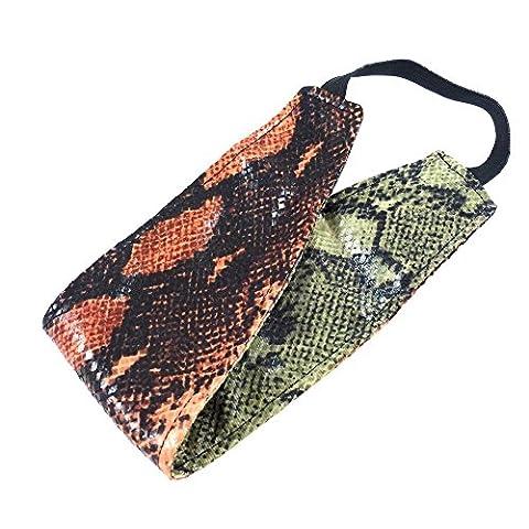 rougecaramel - Accessoires cheveux - Headband/bandeau/serre tête large imprimé serpent réversible - orange/vert