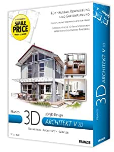 Franzis 3D-Architekt V 7, CD-ROM 2D/3D-Design. Bauherren, Architekten, Renovierung, Garten, Makler, Anbau, Bungalow. Für Windows 98 SE/ME/XP