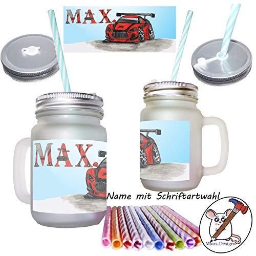 Auto Henkelglas mit Name/Mason Jar/mit Deckel und Mehrweg-Trinkhalm/Glas/Sommerglas/Glas mit Deckel, Henkel und Strohhalm/Rennauto/Personalisiert/Geschenk/Geschenkidee/mit Name/mit Namen